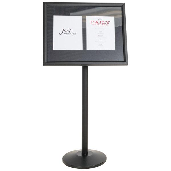 Aarco P-5BK Black Single Pedestal Sign Board