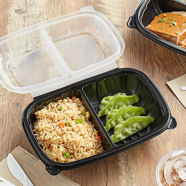 """Choice 9"""" x 6"""" x 3"""" Microwaveable 2-Compartment Black / Clear Plastic Hinged Container - 100/Case Main Image 4"""