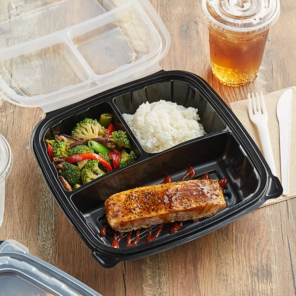 """Choice 10"""" x 10"""" x 3"""" Microwaveable 3-Compartment Black / Clear Plastic Hinged Container - 100/Case Main Image 4"""