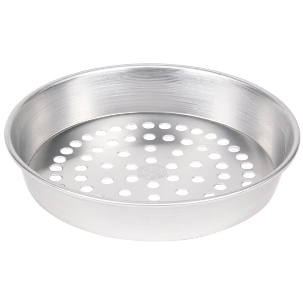 "American Metalcraft SPA90152 15"" x 2"" Super Perforated Standard Weight Aluminum Tapered / Nesting Pizza Pan"