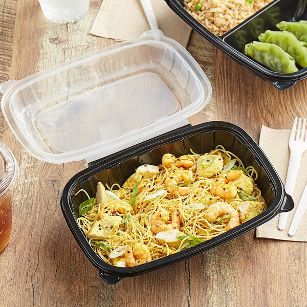 """Choice 9"""" x 6"""" x 3"""" Microwaveable 1-Compartment Black / Clear Plastic Hinged Container - 100/Case Main Image 4"""