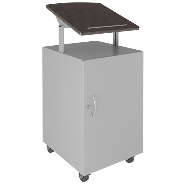 "Hirsh Industries 24077 Weathered Charcoal / Arctic Silver Mobile Lectern / Podium with Adjustable Laminate Top and Lockable Storage - 18"" x 18"" x 50"" Main Image 1"