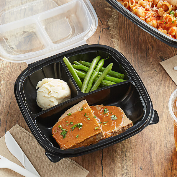 """Choice 8"""" x 8"""" x 3"""" Microwaveable 3-Compartment Black / Clear Plastic Hinged Container - 100/Case Main Image 4"""