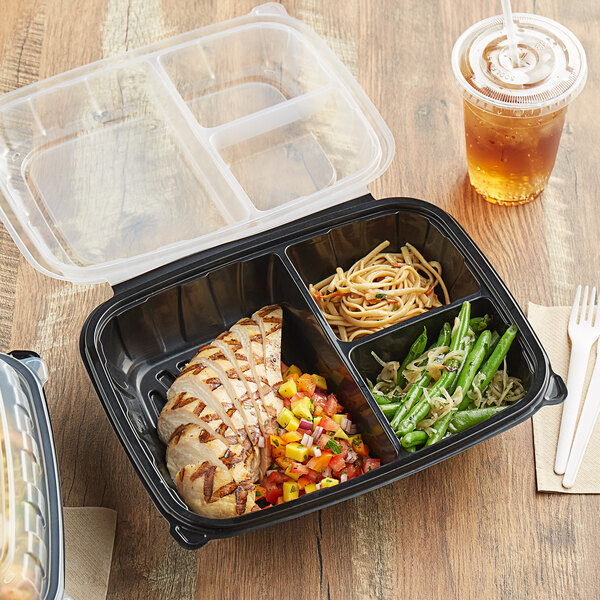 """Choice 11"""" x 8 1/2"""" x 3"""" Microwaveable 3-Compartment Black / Clear Plastic Hinged Container - 100/Case Main Image 4"""