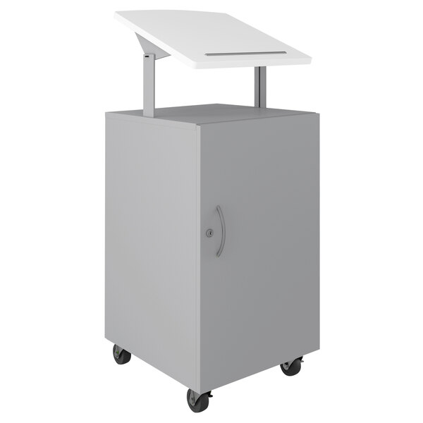 """Hirsh Industries 24076 White / Arctic Silver Mobile Lectern / Podium with Adjustable Laminate Top and Lockable Storage - 18"""" x 18"""" x 50"""" Main Image 1"""
