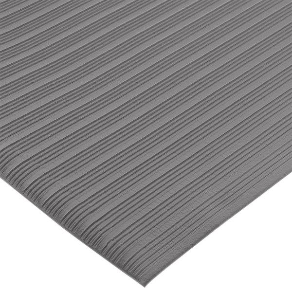 "San Jamar KM4360GY 3' x 60' Gray Anti-Fatigue Vinyl Sponge Floor Mat Roll - 3/8"" Thick"