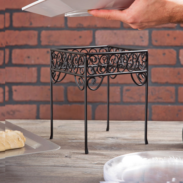 "American Metalcraft PSS77 7"" x 9"" Contempo Black Scroll Square Pizza Stand"