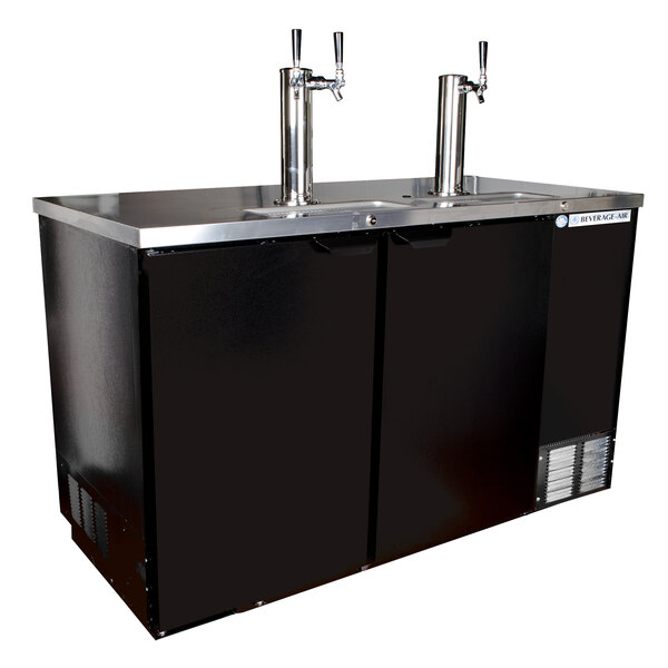 Beverage-Air DD58HC-1-B-ALT-016 (2) Double Tap Kegerator Beer Dispenser with Right Side Compressor - Black, 3 (1/2) Keg Capacity Main Image 1