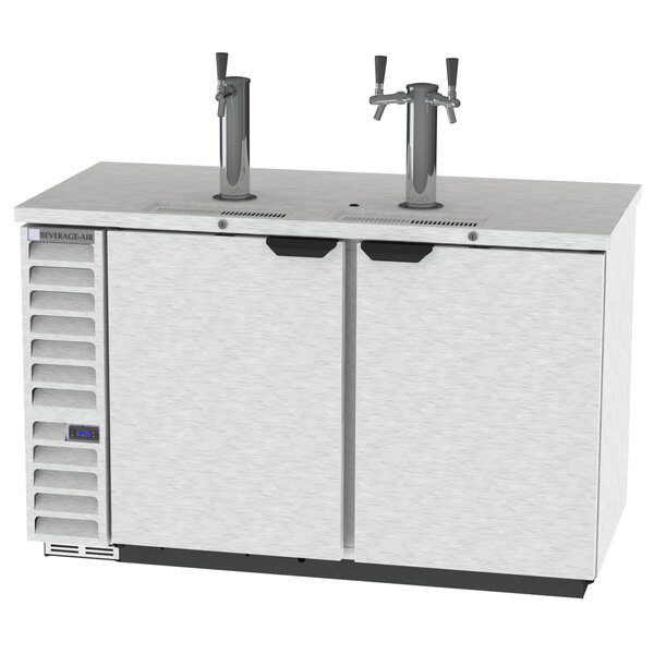Beverage-Air DD58HC-1-S-016 (2) Double Tap Kegerator Beer Dispenser with Left Side Compressor - Stainless Steel, 3 (1/2) Keg Capacity Main Image 1