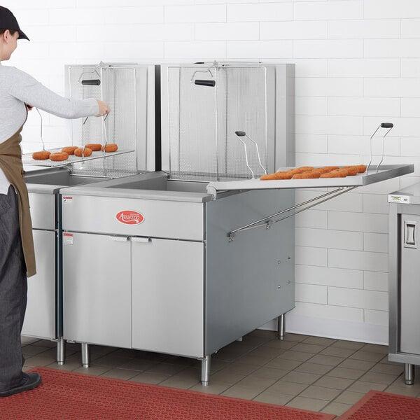 Avantco Natural Gas 150-170 lb. Flat Bottom Donut Floor Fryer with Millivolt Controls Main Image 5