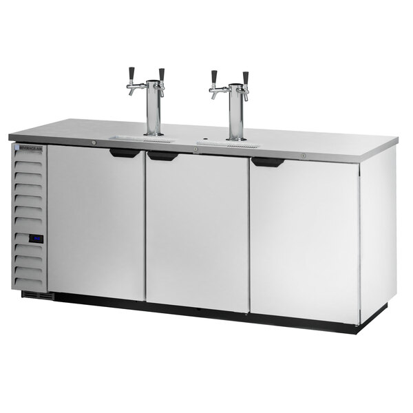 Beverage-Air DD78HC-1-S-072 1 Double and 1 Triple Tap Kegerator Beer Dispenser with Left Side Compressor - Stainless Steel, 4 (1/2) Keg Capacity Main Image 1
