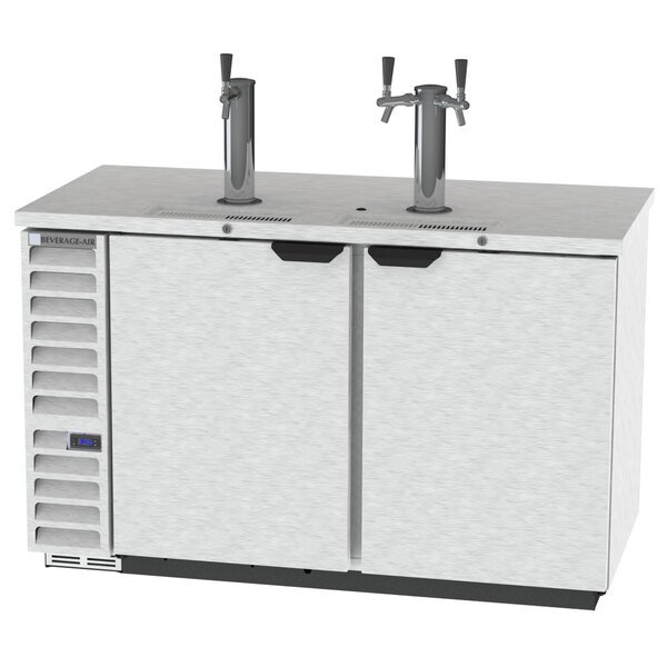 Beverage-Air DD58HC-1-S-072 1 Double and 1 Triple Tap Kegerator Beer Dispenser with Left Side Compressor - Stainless Steel, 3 (1/2) Keg Capacity Main Image 1