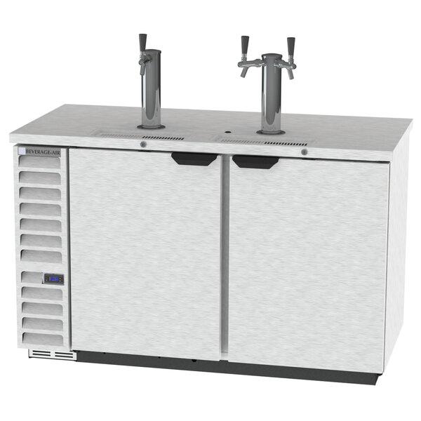Beverage-Air DD58HC-1-S-069 (2) Triple Tap Kegerator Beer Dispenser with Left Side Compressor - Stainless Steel, 3 (1/2) Keg Capacity Main Image 1