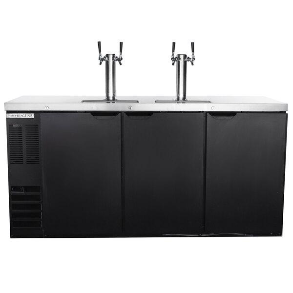 Beverage-Air DD72HC-1-B-ALT-069 (2) Triple Tap Kegerator Beer Dispenser with Left Side Compressor - Black, 3 (1/2) Keg Capacity Main Image 1