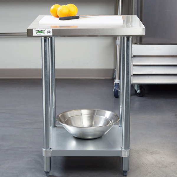 """Regency 24"""" x 24"""" 18-Gauge 304 Stainless Steel Commercial Work Table with Galvanized Legs and Undershelf"""