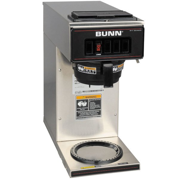 Bunn VP17-1 SS Pourover Coffee Brewer with 1 Lower Warmer - Stainless Steel 120V (Bunn 13300.0001)