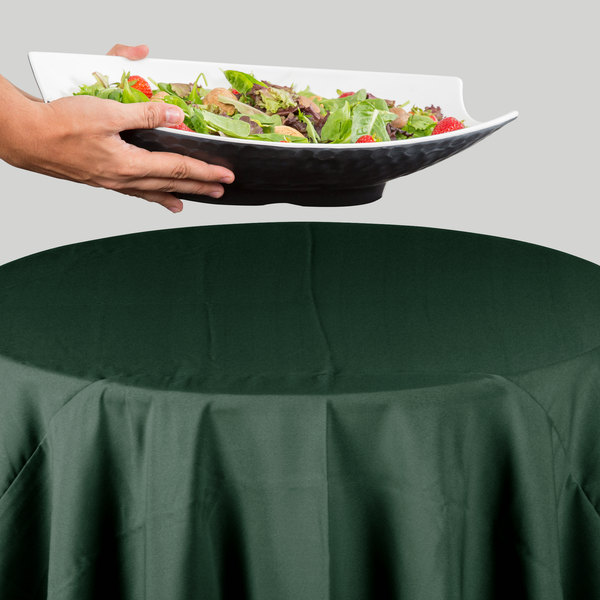 """83"""" Round Forest Green 100% Polyester Hemmed Cloth Table Cover"""