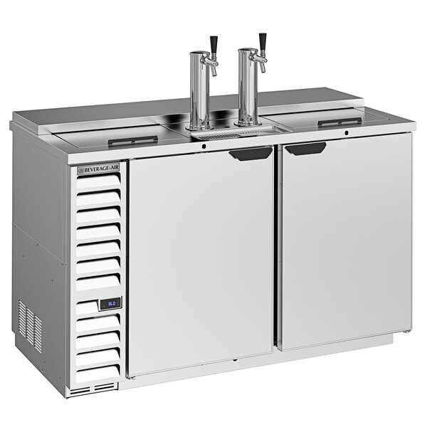 Beverage-Air DD58HC-1-C-S-ALT 2 Single Tap Club Top Kegerator Beer Dispenser with Right Side Compressor - Stainless Steel, 3 (1/2) Keg Capacity Main Image 1