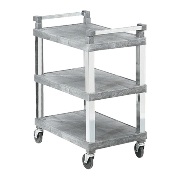 Vollrath 97102 3 Shelf Utility Cart with Chrome Uprights - 200 lb. Capacity Main Image 1