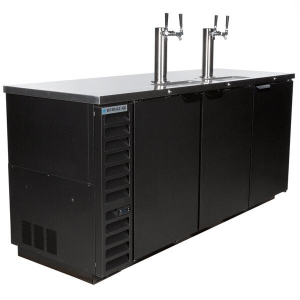 Beverage-Air DD78HC-1-B-ALT (2) Double Tap Kegerator Beer Dispenser with Right Side Compressor - Black, 4 (1/2) Keg Capacity Main Image 1