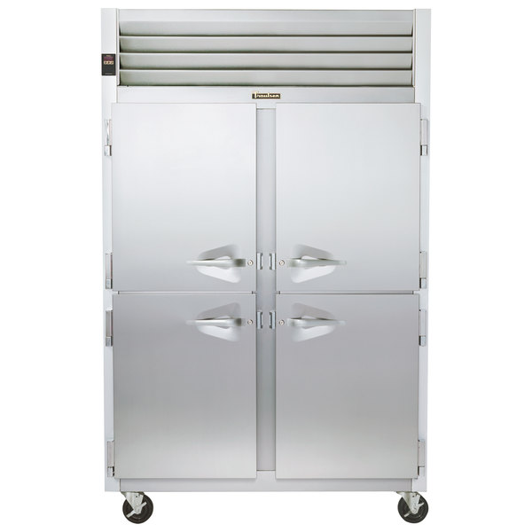 Traulsen G24300 Solid Half Door 2 Section Hot Food Holding Cabinet with Left / Right Hinged Doors Main Image 1