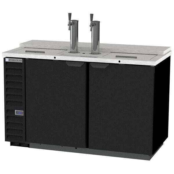 Beverage-Air DD58HC-1-C-B-ALT 2 Single Tap Club Top Kegerator Beer Dispenser with Right Side Compressor - Black, 3 (1/2) Keg Capacity Main Image 1