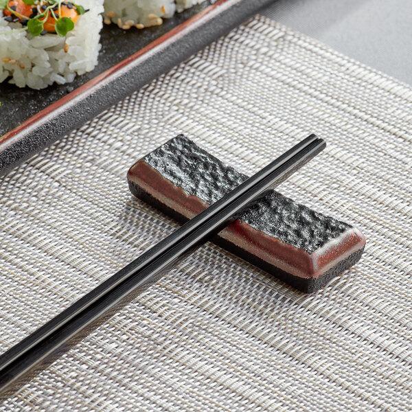 Acopa Heika Black Matte Textured Stoneware Chopstick Rest Main Image 2