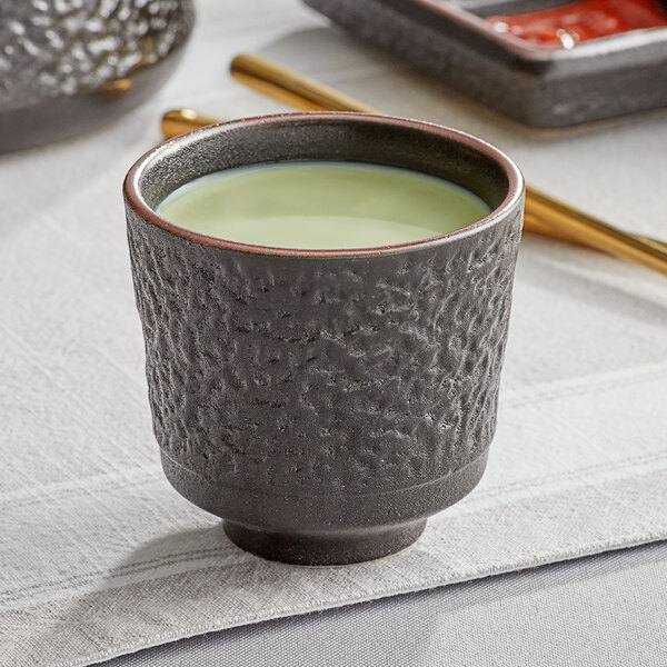Acopa Heika 5 oz. Black Matte Textured Stoneware Tea Cup - 12/Case Main Image 2