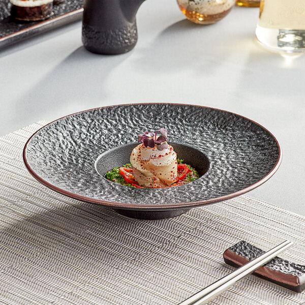 Acopa Heika 4 oz. Black Matte Textured Wide Rim Stoneware Bowl - 12/Case Main Image 3