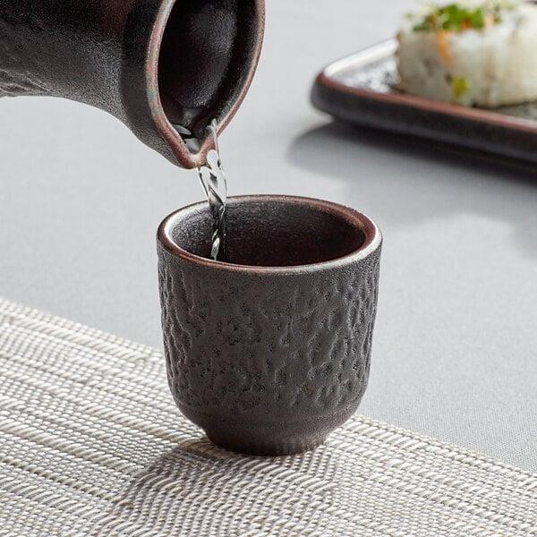 Acopa Heika 1.5 oz. Black Matte Textured Stoneware Sake Cup - 24/Case Main Image 2