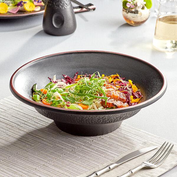 Acopa Heika 70 oz. Black Matte Textured Wide Rim Stoneware Pasta Bowl - 6/Case Main Image 3
