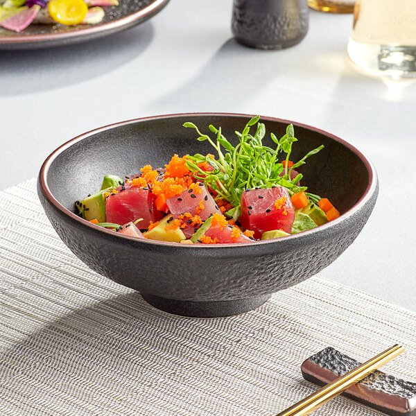 Acopa Heika 35 oz. Black Matte Textured Stoneware Bowl - 12/Case Main Image 3