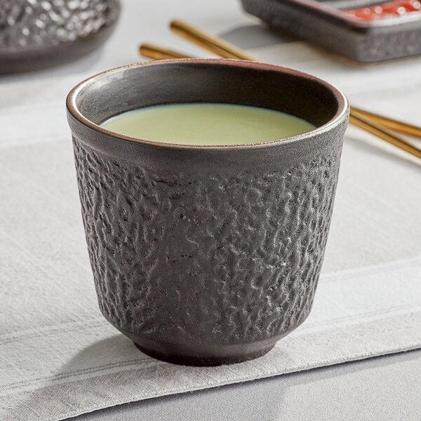 Acopa Heika 12 oz. Black Matte Textured Stoneware Mug - 12/Case Main Image 2