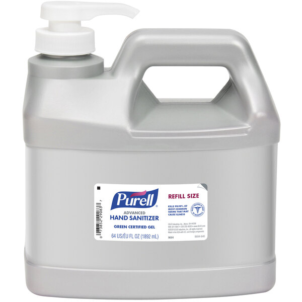 Purell® 9684-04 Advanced Green Certified 64 oz. / 1/2 Gallon Gel Hand Sanitizer Refill Bottle with Pump - 4/Case Main Image 1