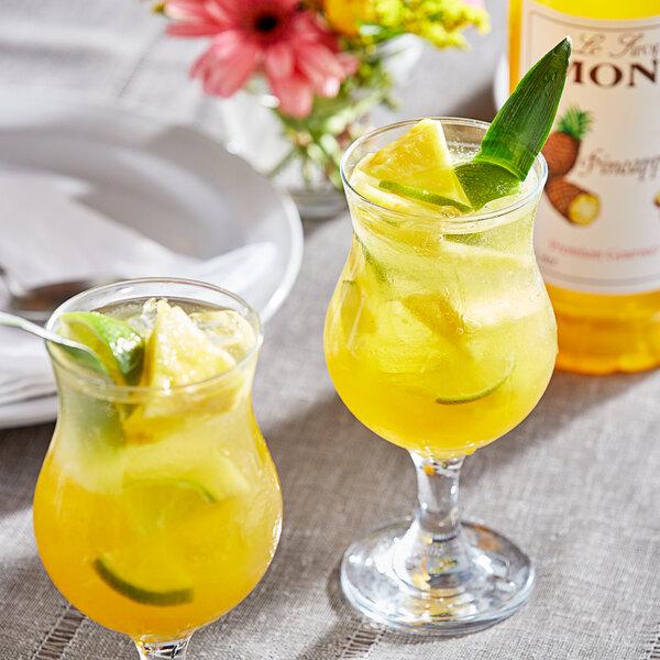 Monin 1 Liter Premium Pineapple Flavoring / Fruit Syrup Main Image 2