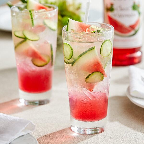 Monin 1 Liter Premium Classic Watermelon Flavoring / Fruit Syrup Main Image 2