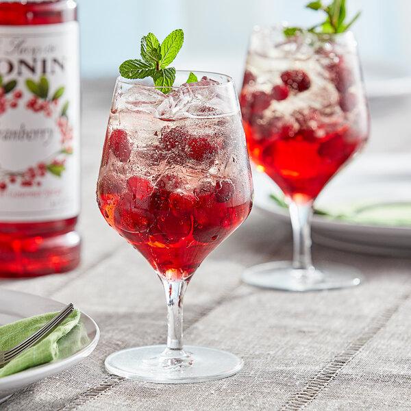 Monin 1 Liter Premium Cranberry Flavoring / Fruit Syrup Main Image 2