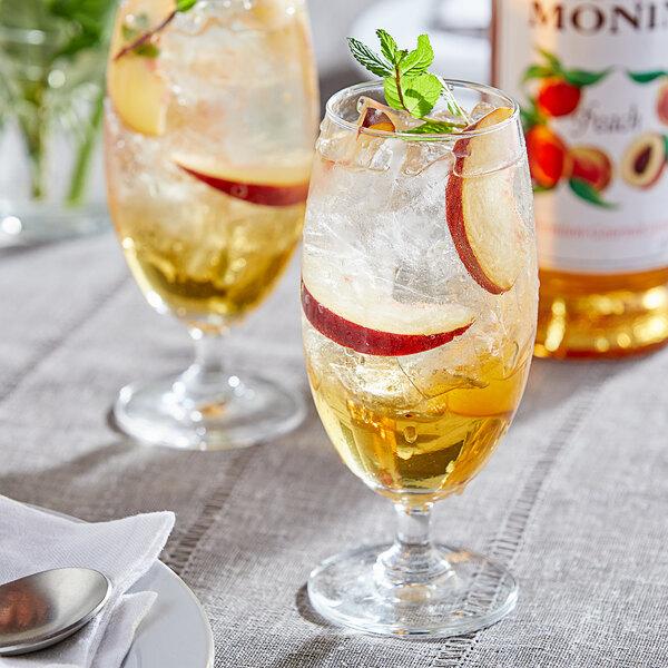 Monin 1 Liter Premium Peach Flavoring / Fruit Syrup Main Image 2