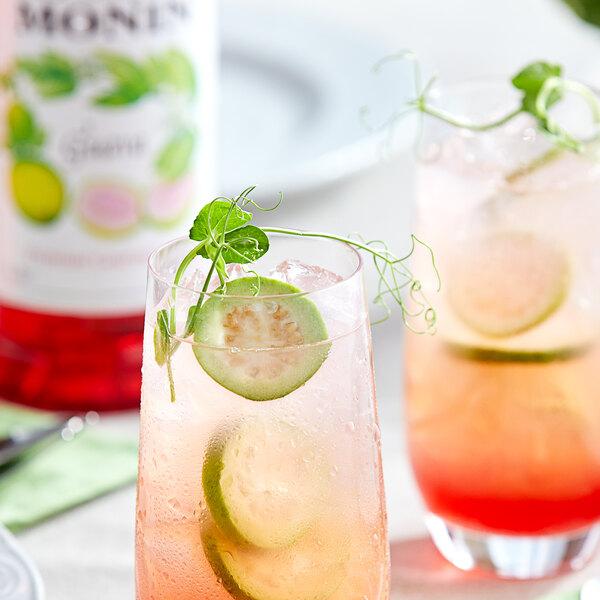 Monin 1 Liter Premium Guava Flavoring / Fruit Syrup Main Image 2