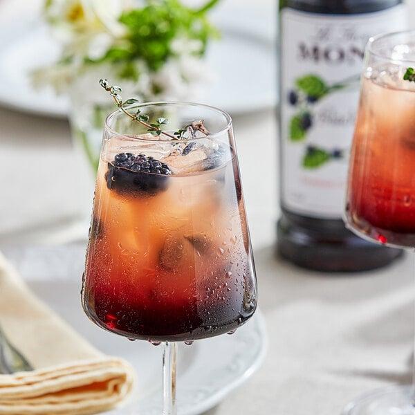 Monin 1 Liter Premium Blackberry Flavoring / Fruit Syrup Main Image 2