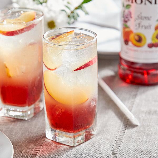 Monin 1 Liter Premium Stone Fruit Flavoring / Fruit Syrup Main Image 2