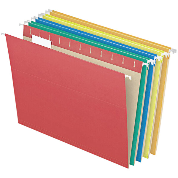 Pendaflex 81663 Assorted Color Letter Size 1/5 Cut Recycled Hanging Folder - 25/Box Main Image 1