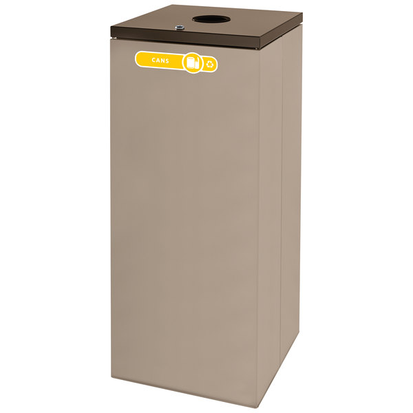 Rubbermaid FGNC36L Collect-A-Cube 34.5 Gallon Beige Recycling Receptacle with Lock
