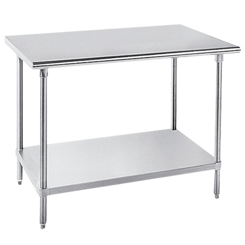 "Advance Tabco GLG-486 48"" x 72"" 14 Gauge Stainless Steel Work Table with Galvanized Undershelf"