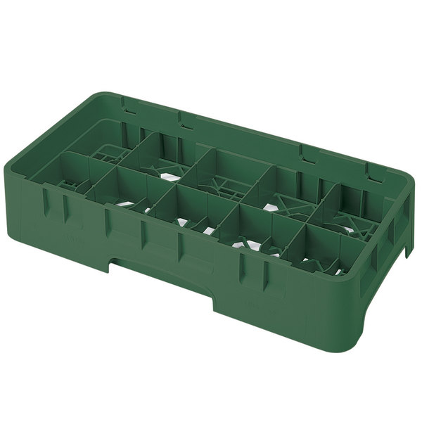 "Cambro 10HS318119 Sherwood Green Camrack Customizable 10 Compartment 3 5/8"" Half Size Glass Rack"