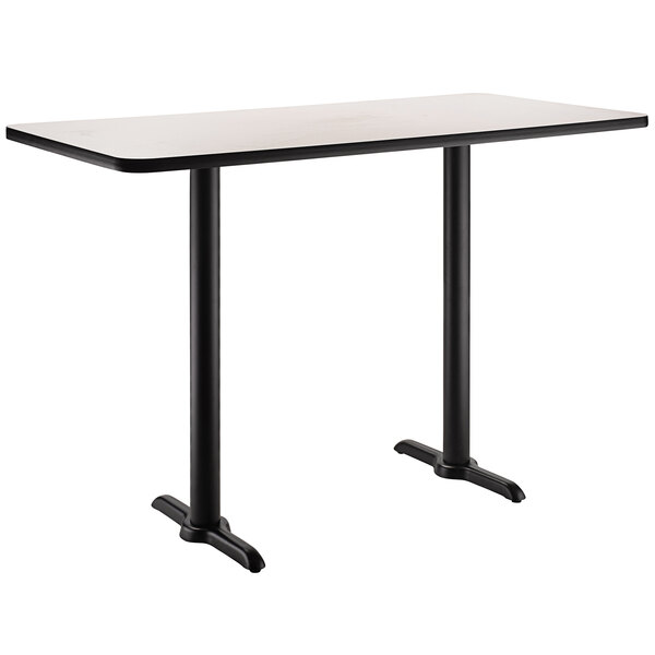 """National Public Seating CT22448TDxx 24"""" x 48"""" Dining Height Black Frame Rectangular Cafe Table with High Pressure Laminate Top Main Image 1"""
