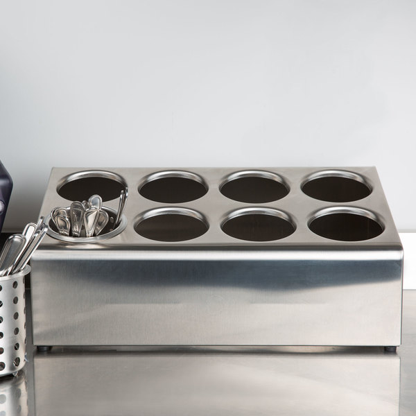 Steril-Sil TC-8S Eight Hole Stainless Steel Flatware Cylinder Holder