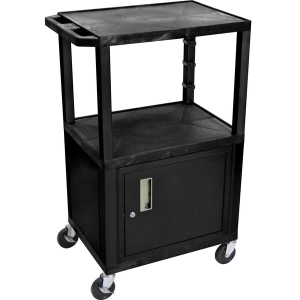 """Luxor WT2642C2E Black Tuffy Two Shelf Adjustable Height A/V Cart with Locking Cabinet - 18"""" x 24"""""""