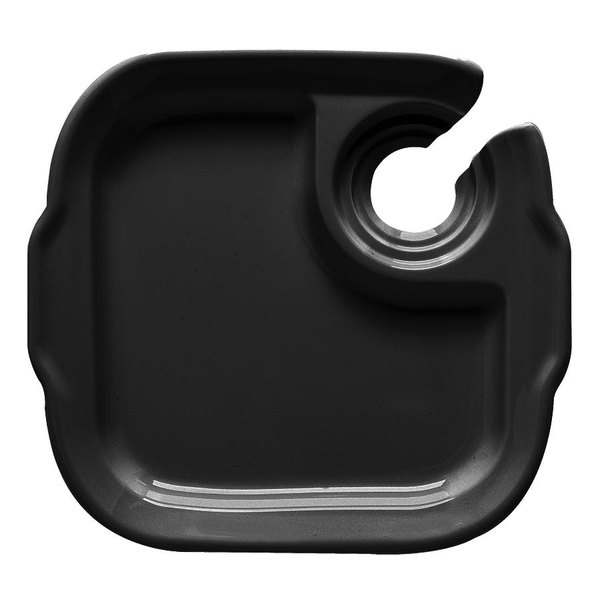 "GET PP-975 Let's Party 9 3/4"" x 9"" Black Plate with Stemware Hole - 12/Case"