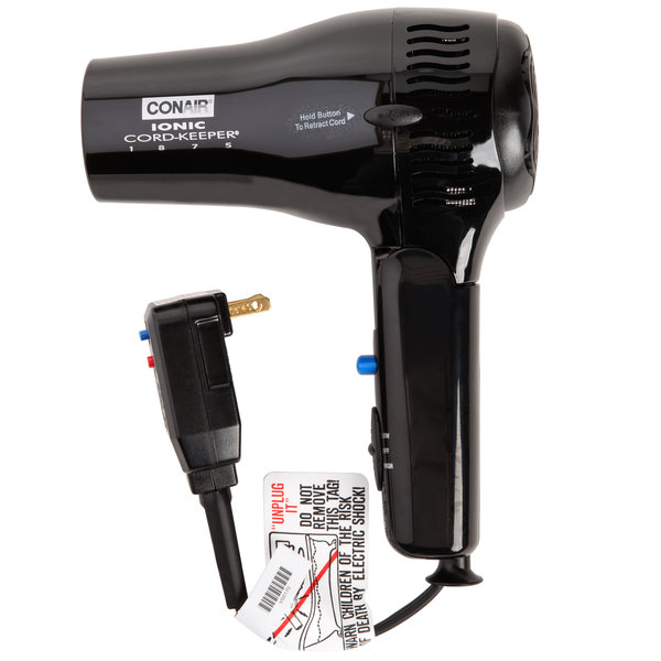 Conair 169BIW Black Cord Keeper Hair Dryer - 1875W
